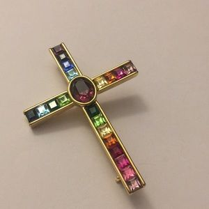 Rainbow 🌈 square rhinestones cross ✝️ brooch pin